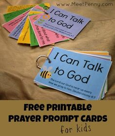 Free Printable Prayer Prompt Cards for Kids - Very cute! Guides children through what to pray for and includes Scriptures.