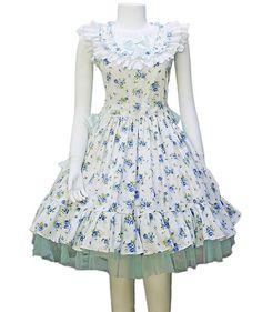 Round Collars Blue Flowers Country Lolita Dress
