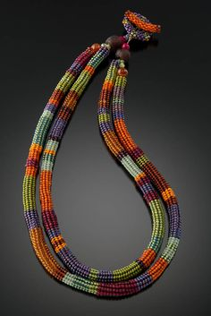 Julie Powell- Papaya Anasazi Necklace- glass seed beads woven bead by bead with a needle and fishing line. www.juliepowelldesigns.com