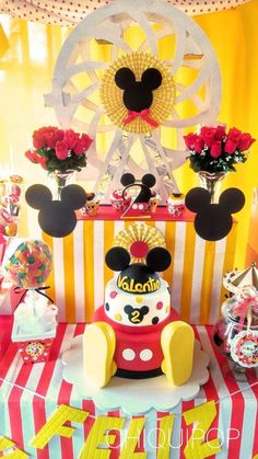 Red, black and yellow Mickey Mouse party! See more party planning ideas at… Mickey 1st Birthdays, Minnie Y Mickey Mouse, Mickey Mouse Photos, Mickey Mouse Clubhouse Birthday Party, 2nd Birthday Party Themes, Mickey Mouse Parties, Baby Boy 1st Birthday, Mickey Birthday, Mickey Party