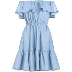 Chambray ruffled off the shoulder dress (€80) ❤ liked on Polyvore featuring dresses, flounce dress, chambray dress, off shoulder frill dress, frill dress and frilly dresses