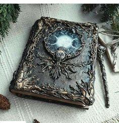 Fantasy Jewelry, Fantasy Art, Magical Jewelry, Witch Aesthetic, Magic Book, Fantasy Weapons, Handmade Books, Book Of Shadows, Altered Books