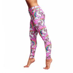 These Full-Length Tikiboo Leggings Are Quite Possibly The Most Awesome Treats To Grace The Fitness Market: Pink Lycra, Rainbows And Unicorns! Printed Yoga Pants, Printed Leggings, Unicorn Leggings, Women's Leggings, Running Leggings, Workout Leggings, High Waisted Yoga Leggings, Getting Back In Shape