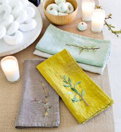 How to make embroidered napkins: Beautiful embroidery never goes out of style! The stitching details make these napkins look almost too good to use, but who could resist bringing out such beauties? Stitch up your own napkins from fabric or save time and embroider onto store-bought napkins
