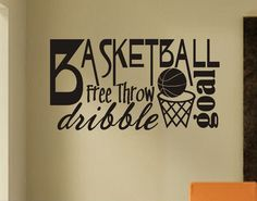 Sports Wall Decal Football Player Silhouette, Vinyl Wall Lettering for Kids, Football Bedroom Wall Decor, Sport Theme Game Room Decal Basketball Drawings, Basketball Posters, Basketball Quotes, Basketball Stuff, Basketball Leagues, Wort Collage, Basketball Decorations, Basketball Bedroom, Sports Wall Decals