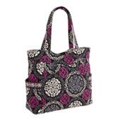 """Pleated Tote in Canterberry Magenta, SKU #10812149    14 ¾"""" x 14"""" x 5 ¼"""" with 10 ½"""" strap drop, Back by very popular demand! Larger than our classic Tote, this beloved style zips closed for added security. A dropped yoke provides a slight dip at the arm for comfort. Two wrap-around exterior pockets hold larger items, while four interior compartments keep you neatly organized."""