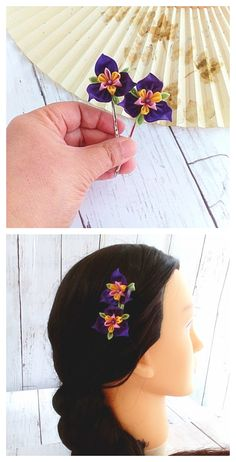 Kanzashi flower pins, Bridemaids hair pin, Purple hair pins, Iris flower, Japanese silk flowers, Wedding hair piece, prom hair, Cosplay hair #kanzashi #kanzashihairpin #tsumamikanzashi #tsumamizaiku #weddinghairpins #promhairpins #cosplayhairpins #hairpiece #flowerhairpins #purpleflower #iris #hairaccessories #handmadewithlove #etsy