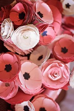 Nautical Wedding in Navy Blue & Pink | Confetti Daydreams - Gorgeous pink and ivory paper ranunculus DIY Paper Bridal Bouquets ♥ #Nautical #Wedding #Theme #Pink #Navy #Blue