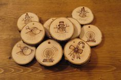 Choose Any 2 Small Personalized Wooden Ornaments, Gift Tags