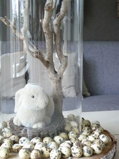 Spring or Easter centerpiece with bunny and branch covered cloche. Happy Easter, Easter Bunny, Easter Eggs, Easter Crafts, Holiday Crafts, Holidays And Events, Happy Holidays, About Easter, Easter Parade