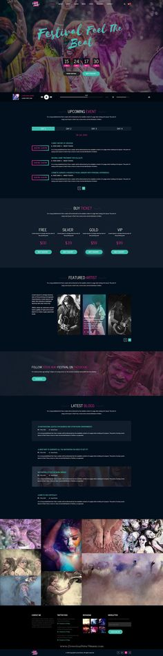 Buy Steve Cadey - Modern & Stylish Music Event PSD Template by on ThemeForest. Steve Cadey was created perfectly for music bands, musicians, DJ, producers, labels or organizers of events and festi. Event Website, Website Themes, Festival Off, Site Inspiration, Music Websites, Site Vitrine, Ui Web, Web Layout, Psd Templates