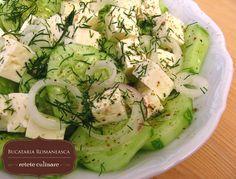 Cucumbers salad with cheese Good Food, Yummy Food, Romanian Food, Cucumber Salad, Pinterest Recipes, Homemade Food, Food Art, Salad Recipes, Breakfast Recipes