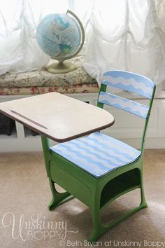 Thrift Store Makeover: Update a student desk with a fresh coat of paint for a cute homework or crafting desk.  Who else remember sitting in a desk like this one in school?