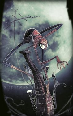 Very Creepy SpideyMan by Duncan Fraser. I could see a Tim Burton animated flick based on this illustration. - Visit to grab an amazing super hero shirt now on sale! Comic Books Art, Comic Art, Book Art, Comic Movies, Amazing Spiderman, Spiderman 3, Tim Burton Art Style, Tim Burton Drawings Style, Tim Burton Artwork