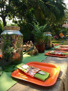 Boys Dinosaur Birthday Party Table Centerpiece Ideas and feed the dinosaur (bean bag/ball toss) game