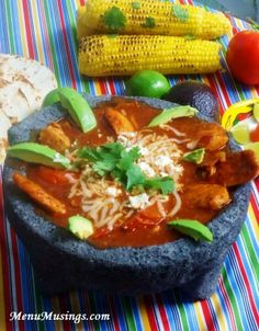 Chicken Molcajete -  An exquisite dish I became familiar with in Northwestern Mexico in the foothills of the Sierra Madre mountains. It is similar to fajitas, but served in a rich, tomato based soup/stew.  FABULOUS! Step-by-step photo tutorial.