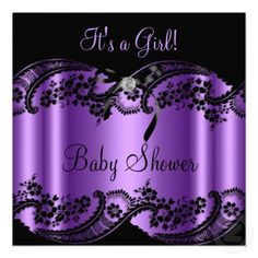 Purple Girl Baby Shower Lace Diamonds Bow Announcements Personalized Invitations by zizzago.com