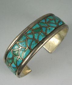 Stunning Zuni Turquoise Channel Inlay Silver Bracelet | eBay