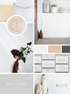 Neutral and organic mood board featuring hues of white, grey, and brown Corporate Design, Brand Identity Design, Graphic Design Branding, Web Design, Layout Design, Graphic Design Inspiration, Color Inspiration, Moodboard Inspiration, Inspiration Boards