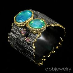 stone touchskin Natural Blue Opal 925 Sterling Silver Ring Size 8.5/R34156 #APBJewelry #Ring