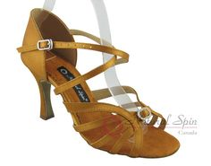 Natural Spin Latin Shoes(Open Toe):  M1145-02_GoldCS