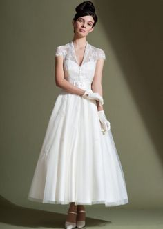 Tea Length Wedding Dresses. 50's vintage style short wedding dress with lace jacket - FairyGothMother #vintagedress #wedding