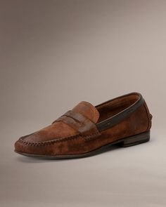 a5ab727e8b5 Frye Lewis Leather Penny - Cognac Suede Mens Leather Loafers