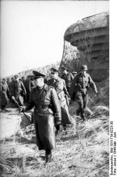 France - General Field Marshal Erwin Rommel with officers during inspection of the coast defenses of the Atlantic Wall; just before the invasion in 1944, about May / June; KBZ OB West.