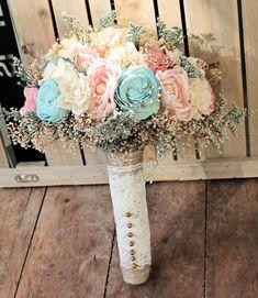 Romantic Wedding Bouquet -Pink and Mint Collection, Aqua Custom Colors Keepsake Alternative Bouquet, Sola Bouquet, Rustic Wedding Fall Wedding Bouquets, Bride Bouquets, Diy Wedding, Wedding Flowers, Dream Wedding, Rustic Wedding Colors, Alternative Bouquet, Bouquet Toss, Fabric Flowers
