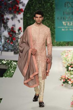 A stunning menswear sherwani from the collection Vintage Garden by Varun Bahl #frugal2fab
