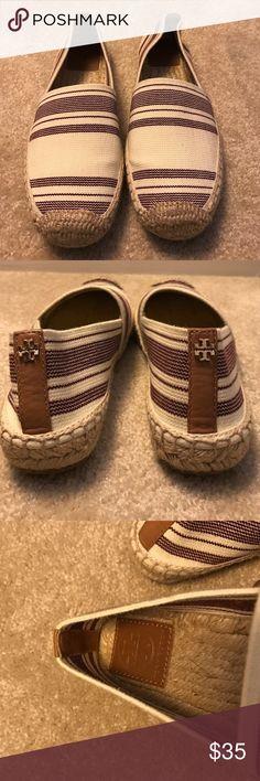 Tory Burch espadrilles- cream & maroon Women's size 6.5 (fits 5.5, runs 1 size small). Tory Burch (bought via HauteLook.com) - espadrille flats, cream and maroon stripes. Tory Burch Shoes Espadrilles