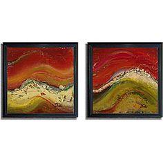 Patricia Pinto 'Tierra II' and 'Tierra III' Framed Canvas Art