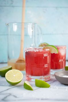 These cherry margaritas are nothing more than a classic marg with a drizzle of pureed frozen cherries this recipe is a no margarita mix required.  5 ingredient fresh margaritas couldn't be an easier recipe to make!  #Margaritas #LifeisbutaDish