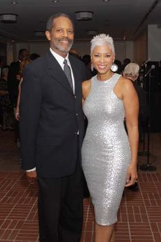 Jim Bridges, Janice Cosby Bridges - that silver dress with that silver hair. Couple Style, Grey Hair, White Hair, My Black Is Beautiful, Beautiful People, Short Hair Cuts, Short Hair Styles, Silver Hair, Silver Dress