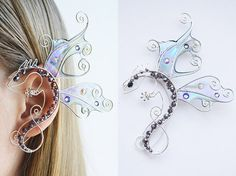 """Shop put  favorites, we often have discounts and promotions! Pls, keep an eye on the store - https://www.etsy.com/ru/shop/EarringsEarcuffs      I make a gift with every order :)    In the photo one ear cuffs from different angles, the color changes depending on the background    """"Fairy Dragon"""" Ear Cuff - revived the magic.  Fleur romance and magic. This fairy tale for stylish ladies. It is in this way that a non-trivial beaten ear cuffs. Its exterior resembles a fairy dragon, escaped from…"""