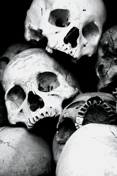 skulls | bones | the human condition | life | death | spooky | black & white | a bundle of bones