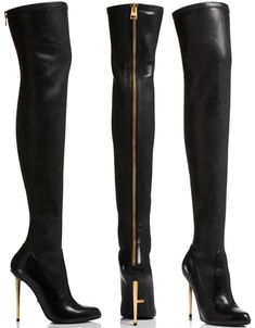 904f15d004d Nappa Stretch Leather Metal Stiletto Over-The-Knee Boot Tight High Boots