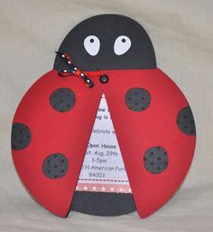Ladybug invite...  I like the idea of putting the brad on top of the wings, so that they pivot.