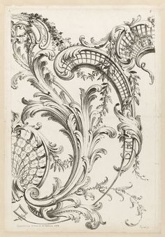 From Cooper Hewitt, Smithsonian Design Museum , Alexis Peyrotte, Floral and Acanthus Leaf Design Etching on white laid paper Images Vintage, Vintage Art, Tatoo Flowers, Ornament Drawing, Google Art Project, Desenho Tattoo, Motif Floral, Design Museum, Leaf Design