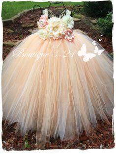 Peach Flower Girl Dress Ivory Flower Girl Dress by - Wedding - Girls Tutu Dresses, Tutus For Girls, Little Girl Dresses, Flower Dresses, Peach Flower Girl Dress, Peach Flowers, Flower Girls, Little Princess, Diy Tutu
