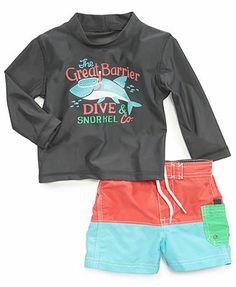 Carter's Baby Boys' 2-Piece Newborn Rashguard & Swim Shorts