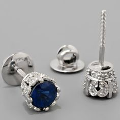 Antique Platinum Edwardian Style Sapphire and Diamond Stud Earrings