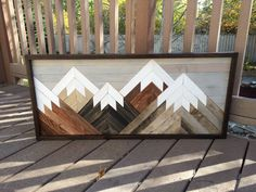 Reclaimed Wood Wall Art Mountain Scene, Mantel Art, Cabin Decor, Rustic Style, Cozy, Over Sized Wooden Mural, Natural Wood Stained by HollyBeeandCompany on Etsy https://www.etsy.com/listing/480886833/reclaimed-wood-wall-art-mountain-scene #cabin_decor_mountain