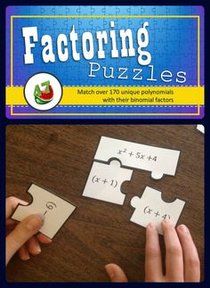 """Hands-on manipulatives - each problem can be """"solved"""" by fitting together the expression and its factors. Great for independent, group, or competitive practice! Includes 171 polynomials"""
