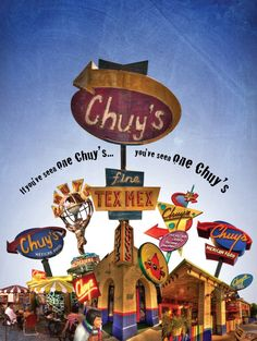 Chuy's - Mexican restaurant.  Good chips, OK salsa, OK flautas. Friendly service.