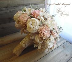 CollectiveShips in 4 weeks ~~~ Rustic Blush Pink Wedding Bouquet, Sola Flowers, Burlap, Lace. Burlap Bouquet, Rustic Bouquet, Rustic Wedding Flowers, Pink Bouquet, Rustic Wedding Centerpieces, Wedding Decorations, Burlap Lace, Burlap Flowers, Bridal Brooch Bouquet