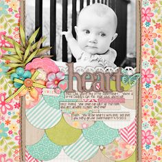 I've seen a lot of layouts with this template and a lot of layouts with this kit, but this one from BritaneeJean is an absolute standout with that GORGEOUS black and white photo of that sweet baby girl. Beautiful clustering and titlework - I am in love!