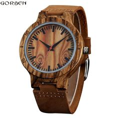 Gorben 2017 Fashion Mens Wooden Watch for Genuine Leather Strap Quartz Watch Men Bamboo Natural Wood Wristwatch Mens Gifts Cheap Watches, Casual Watches, Men's Watches, Wooden Man, Wooden Watches For Men, Sunglasses Store, Wood Watch, Fashion Watches, Brown Leather