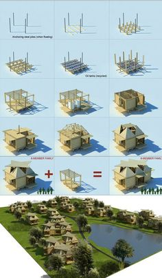 Emergency Houseboats: Bamboo Shelters Float on Oil Drums Read more… Floating Architecture, Bamboo Architecture, Sustainable Architecture, Architecture Details, Architecture Diagrams, Architecture Portfolio, Emergency House, Wooden House Design, Bamboo Structure