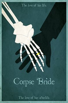 Corpse Bride Minimalist Poster Design - These trendy minimalist movie posters are popping up everywhere. Here's our take on a classic. This Corpse Bride poster features the happy couple holding hands. Fun for the living and the dead alike. This fun poster design looks great on T-shirts, hoodies, stationary and other merchandise too!